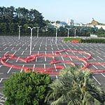 東京ディズニーランドのリゾートラインから見るカラーコーンアート!
